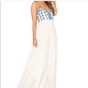 Anthro | RAGA Embroidered Open Back Maxi Dress Med